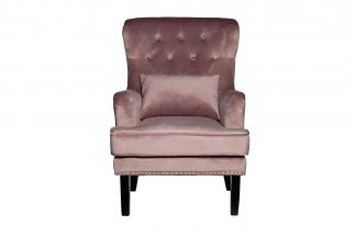 Armchair Rimini with a pillow velour smoke-pi...