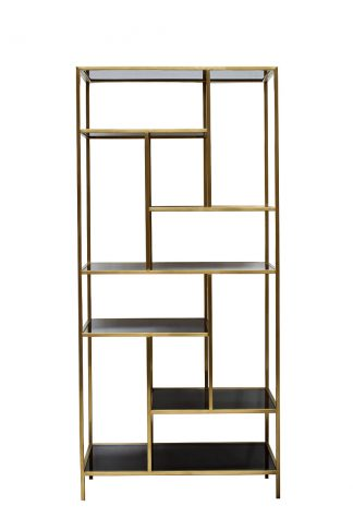 46AS-SH1452-GOLD Shelving unit golden/black 8...