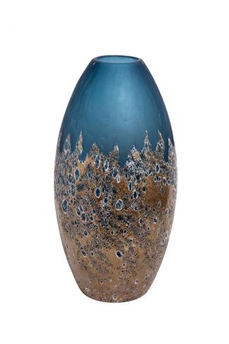 Hj1654-40-S81 Blue Glass Vase With Gold H40D1...