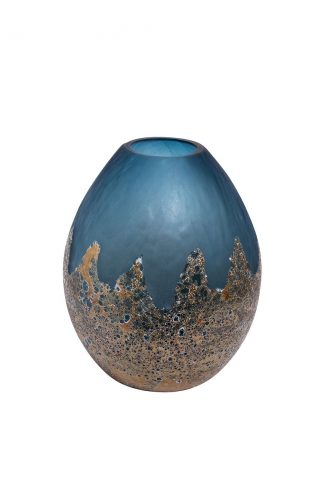Hj6040-30-S81 Blue Glass Vase With Gold H29D2...