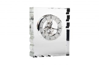C81494 Table clock glass silver 13*5*16 cm