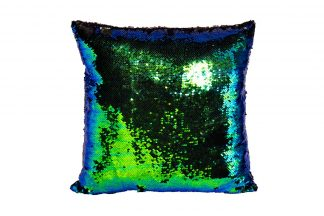28Ml-P00114 Square Pillow, Sequins Blue / Gre...