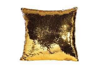 28Ml-P00115 Square Pillow, Gold / Silver Sequ...