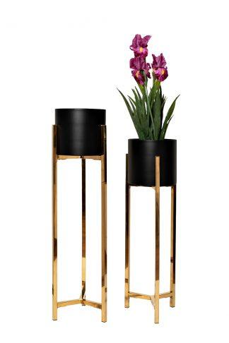57El-Fp02 Set of 2 metal pots on a stand d26*...