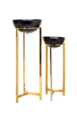 57El-Fp03 Set of 2 metal pots on a stand d30*...