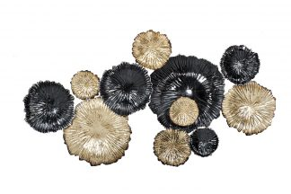 37Sm-0277-R Wall Decor Flowers Golden Black 9...