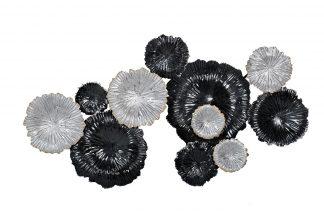 37Sm-0277-R1 Wall Decor Flowers Silver-Black ...