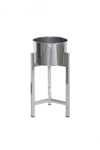 82Gs2-Silver Chrome Flower Stand D22 * 48.8Cm