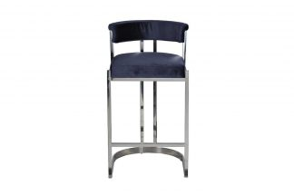 GY-B8216-DB Bar stool dark blue velour (chrom...