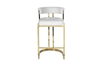 GY-B8216GOLD-LG Bar stool white velour (gold)...
