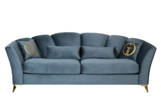 Annette sofa three-seater folding velour turq...