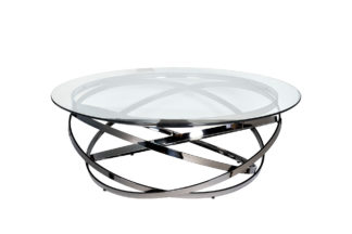 GY-CT8402BL Coffee table round clear glass/da...
