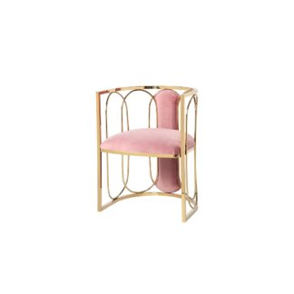 Chair velour pink on a metal frame (gold) 56*...