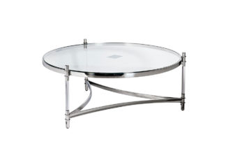 GY-CT1000 Coffee table round clear glass/chro...