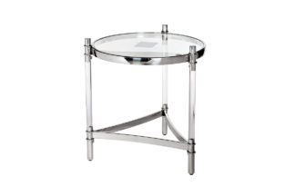 GY-ET1100 Coffee table round clear glass/chro...