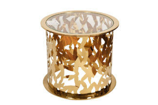 GY-ET8158GOLD Coffee table round transparent ...