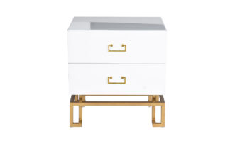 KFG085 White bedside table with two drawers 5...