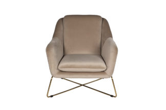 46AS-AR2976-BG Armchair velour beige/matt gol...