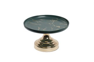 55RD4557L Decorative green dish on a gold sta...