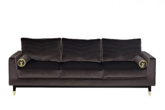 Sofa Madrid Memory triple velour gray with pi...