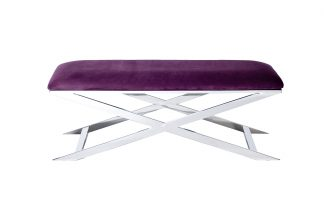 47ED-BEN019-VT Velour bench purple/chrome