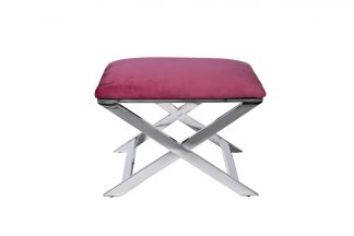 47ED-BEN012-DP Bench velour dark pink/chrome