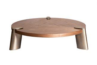58DB-CT17191LT Round coffee table light walnu...