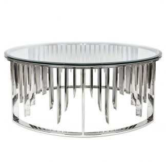 13RXCT8077-SILVER Coffee table round transpar...