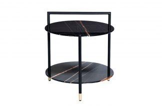 30B-871 BL Round coffee table with shelf blac...