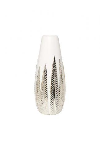 18H2840L-19 White vase with decor d12*33 cm